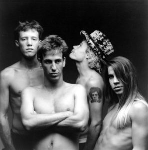 Hillel Slovak, second from left, only contributed to two albums but he was a founding member and a firm friend of Jack (left), Flea, and Anthony.